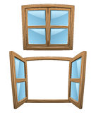 Cartoon wooden windows Stock Image