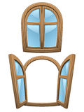 Cartoon wooden windows Royalty Free Stock Photo