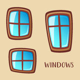Cartoon wooden windows collection Royalty Free Stock Images