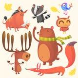 Cartoon woodland animals set. Vector illustration of boar, badger, blue bird, elk moose, bear, owl and fox. Collection of cartoon forest animals images. Vector Stock Photos