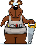 Cartoon Woodworking Bear. A cartoon woodworking bear with a saw Royalty Free Stock Photos