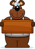 Cartoon Woodworking Bear Sign Stock Photography