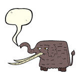 Cartoon woolly mammoth with speech bubble Royalty Free Stock Image
