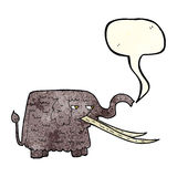 cartoon woolly mammoth with speech bubble Stock Images