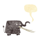cartoon woolly mammoth with speech bubble Royalty Free Stock Photos