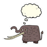 Cartoon woolly mammoth with thought bubble Royalty Free Stock Photos