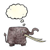cartoon woolly mammoth with thought bubble Stock Photo