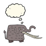 Cartoon woolly mammoth with thought bubble Royalty Free Stock Images