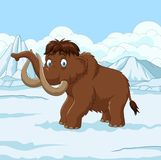 Cartoon Woolly Mammoth walking through a snowy field Royalty Free Stock Photos