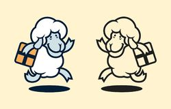 Running woolly sheep character with parcel box vector illustration
