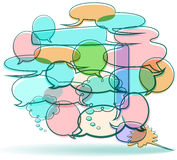 Cartoon Word Balloons. This is an illustration of cartoon word balloons in an overlapping composition of conversation Stock Image