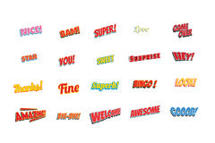 Cartoon words label set  on a white background. Nice bam super love game over star you sweet surprise hey thanks fine superb bingo look amazing bye welcome Royalty Free Stock Image