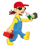 Cartoon worker. Cartoon working wearing a blue overall, a yellow pullover, a red cap, carrying a cordless drill and a red toolcase stock illustration