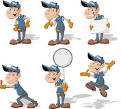 Cartoon worker. With blue uniform and hat Royalty Free Stock Image