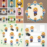Cartoon worker card Stock Images