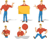 Cartoon worker character Stock Image