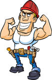 Cartoon worker flexing his muscles Stock Photo