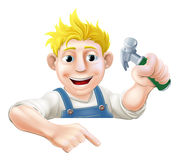 Cartoon worker with hammer Royalty Free Stock Photography