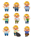 Cartoon worker icon Stock Images