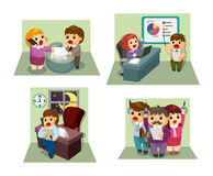 Cartoon worker icon set Royalty Free Stock Photo