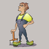 Cartoon worker. Royalty Free Stock Image