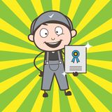 Cartoon Worker Showing His Reward Certificate Vector stock illustration