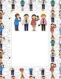 Cartoon worker speech card Stock Photos