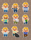 Cartoon worker stickers Royalty Free Stock Photography