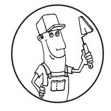 Cartoon Worker with tool  circle logo Stock Photography