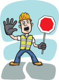 Cartoon worker warning with stop sign. Vector illustration of cartoon worker warning with stop sign. Easy-edit layered vector EPS10 file scalable to any size Stock Images