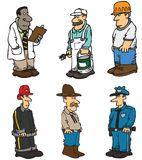 Cartoon workers. A cartoon collection of people dressed for their jobs Royalty Free Stock Photography