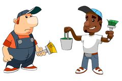 Cartoon workers with brushes and bucket Stock Photo