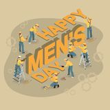 Cartoon workers make words International Mens Day vector illustration