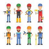 Cartoon workers and other tools under construction Royalty Free Stock Photo
