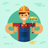 Cartoon workers. Vector flat style illustration of young smiling construction builder or worker in hardhat with paint roller and thumbs-up Royalty Free Stock Photo