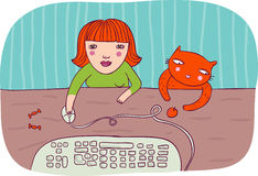 Cartoon workes. Girl working on computer with her cat Stock Photo