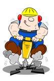 Cartoon Workman Drilling the Road. A cartoon workman drilling the road with a pneumatic drill Royalty Free Stock Photo