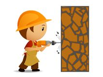 Cartoon workmen with drill make holes in the wall. Vecor illustration. Cartoon workmen in helmet with drill make holes in the wall Royalty Free Stock Image