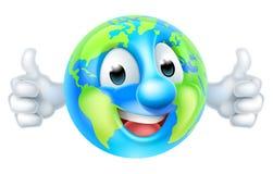 Cartoon World Earth Day Thumbs Up Globe Character. An earth world globe  thumbs up mascot cartoon character Royalty Free Stock Image