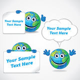 Cartoon World Globe with Banner and Sign Royalty Free Stock Photography