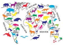 Cartoon World Map with Animals Silhouettes for Kids. Vector Illustration Stock Photo