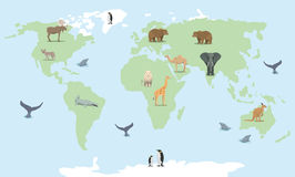 Cartoon world map with wild animals Stock Photos