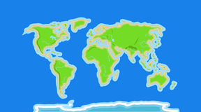 Free Cartoon World Map With Rivers And Mountains Royalty Free Stock Photos - 57172128