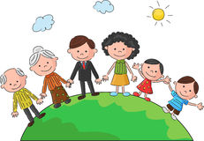 Cartoon The world's complete family in the a circle in the world Royalty Free Stock Image