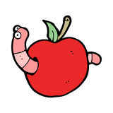 Cartoon worm in apple Royalty Free Stock Images