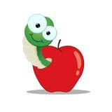 Cartoon Worm in an apple Stock Photos
