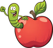 Cartoon worm. Coming out of an apple. Vector clip art illustration with simple gradients. Some elements on separate layers Stock Photography