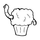 Cartoon worm in cupcake Stock Photo