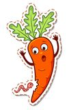 Cartoon worm eats carrots Royalty Free Stock Photos