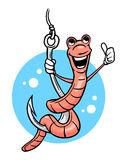 Cartoon worm giving thumb up on hook Stock Image